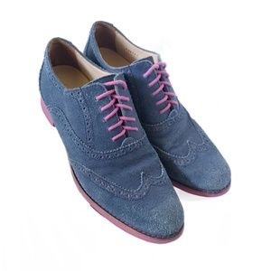 Cole Haan Blue Suede Pink Sole Wing tip Oxfords